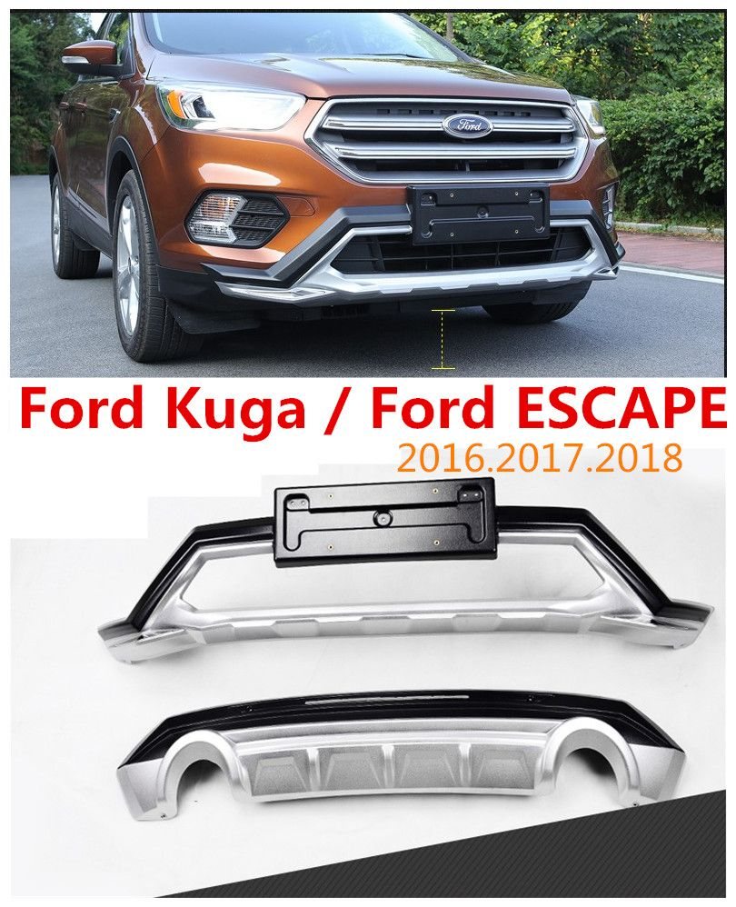 Auto BUMPER GUARD For Ford Kuga ESCAPE 2016.2017.2018 BUMPER Plate High Quality Brand New ABS Front+Rear Car Accessories