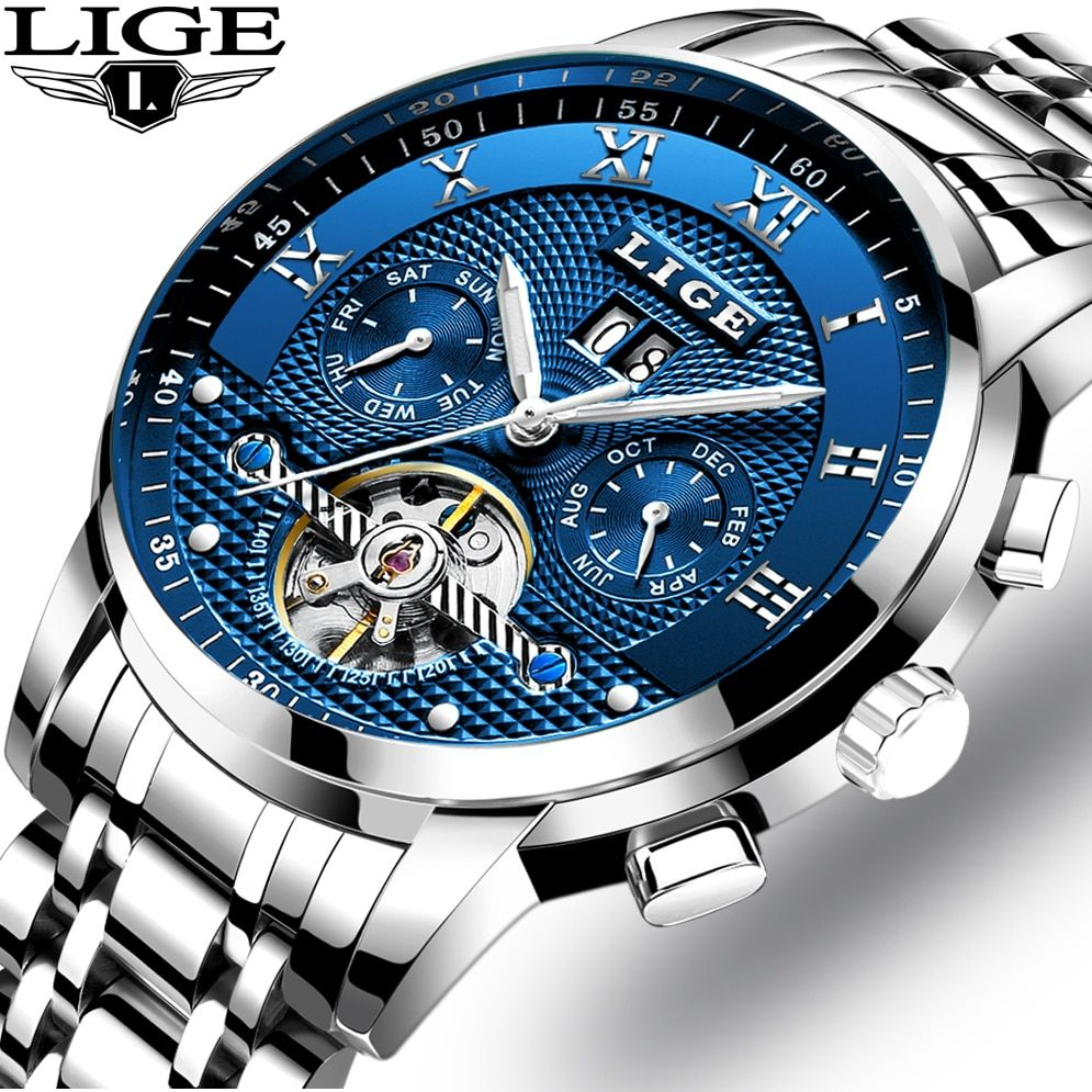 LIGE Mens Watches Top Brand Luxury Automatic Mechanical Watch Men All Steel Business Clock Male Waterproof Sport Watches Relogio