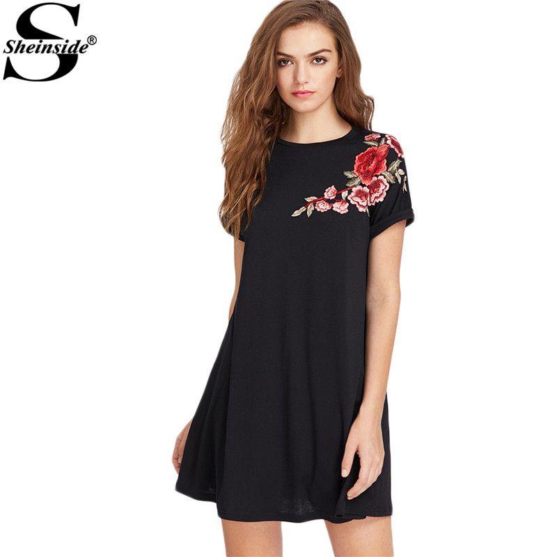 Sheinside Embroidered Dress Women Flower Patch Roll Cuff Swing Tee Dress A Line Short Dress 2017 Summer Casual Mini Dress