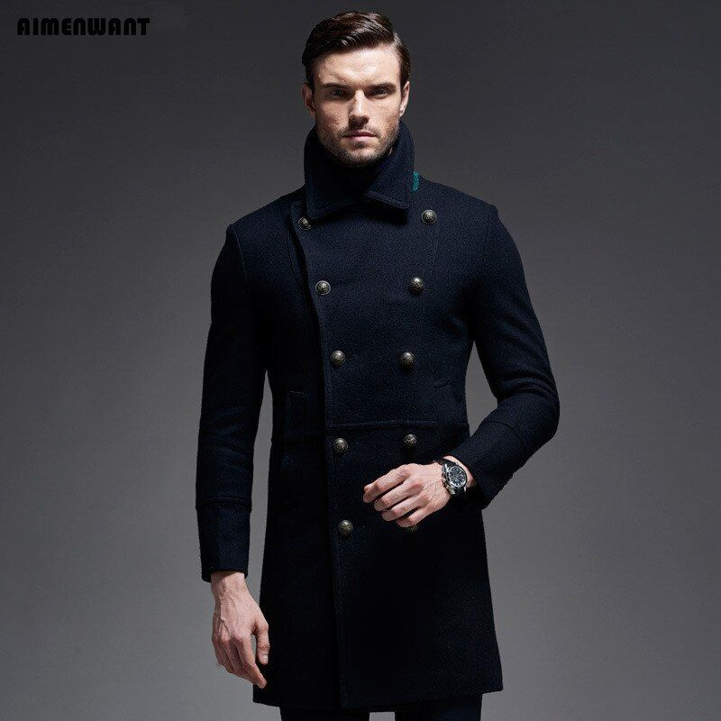 AIMENWANT brand Fall/Winter Wool Coat Europe Brand Quality Cashmere Woolen Jacket Male Military Coats Free Shipping Men Tops