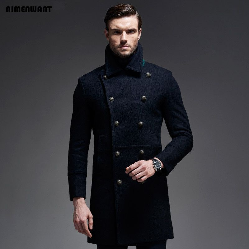 AIMENWANT marke Herbst/Winter Wollmantel Europa Marke Qualität Kaschmir Woolen Jacke Männliche Militärische Mäntel Freies Verschiffen Männer Tops