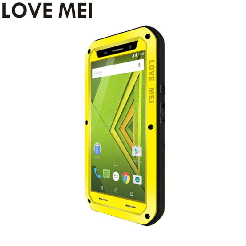 For Motorola MOTO X Play Cover 5.5'' XT1561 XT1562 Waterproof Case LOVE MEI Quality TPU & Hard Metal Cover & Toughened Glass