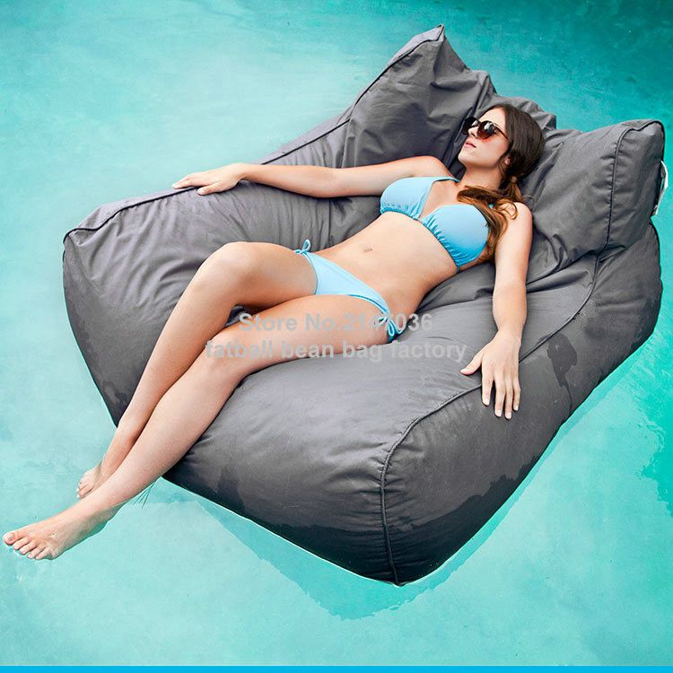 Pacific Grey oversized luxury comfortably accommodate two adults float beanbag, pool floating bean bag outdoor furniture sofa