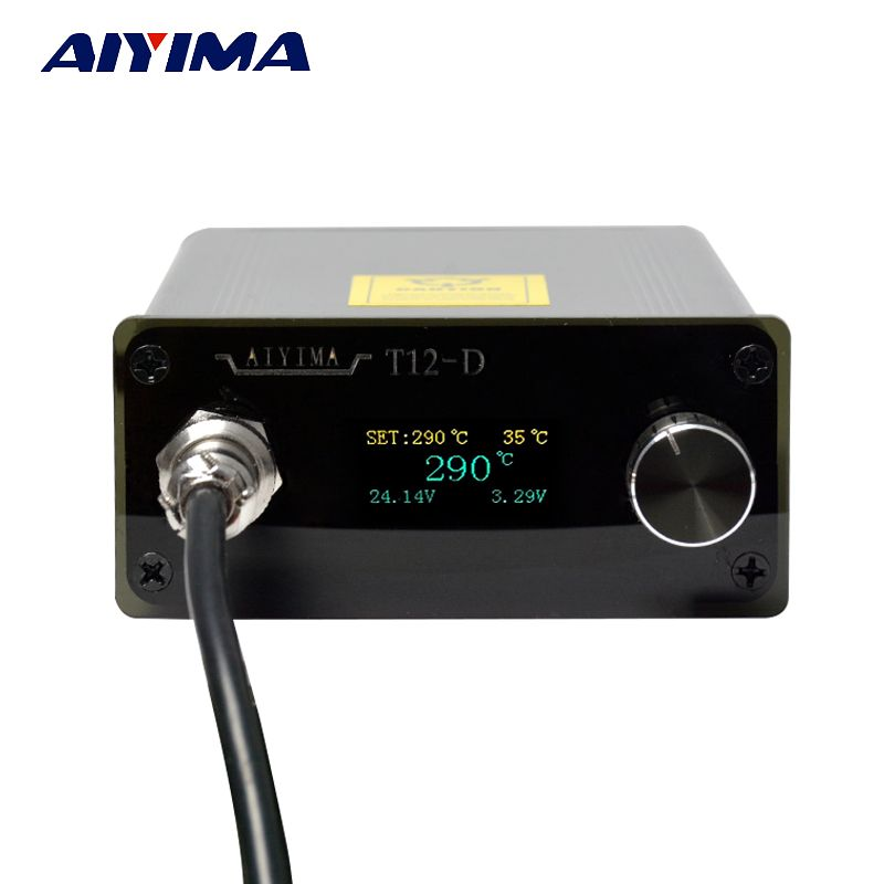 Aiyima AC 110V 220V OLED T12 Digital Soldering Iron Station Temperature <font><b>Controller</b></font> 72W With EU Plug + T12 Handle + T12-K Tip New