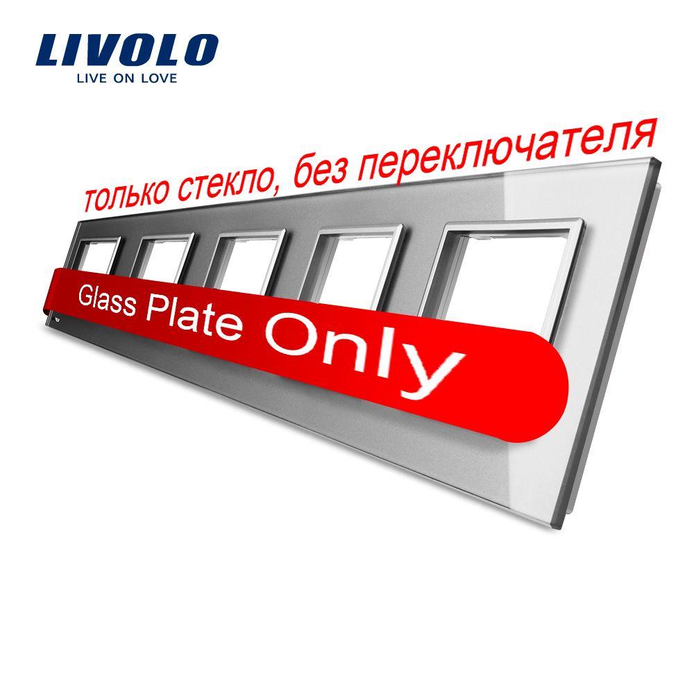 Livolo Luxury Grey Crystal Glass Switch Panel, 364mm*80mm, EU standard,Quintuple Glass Panel For Wall Socket,VL-C7-5SR-15