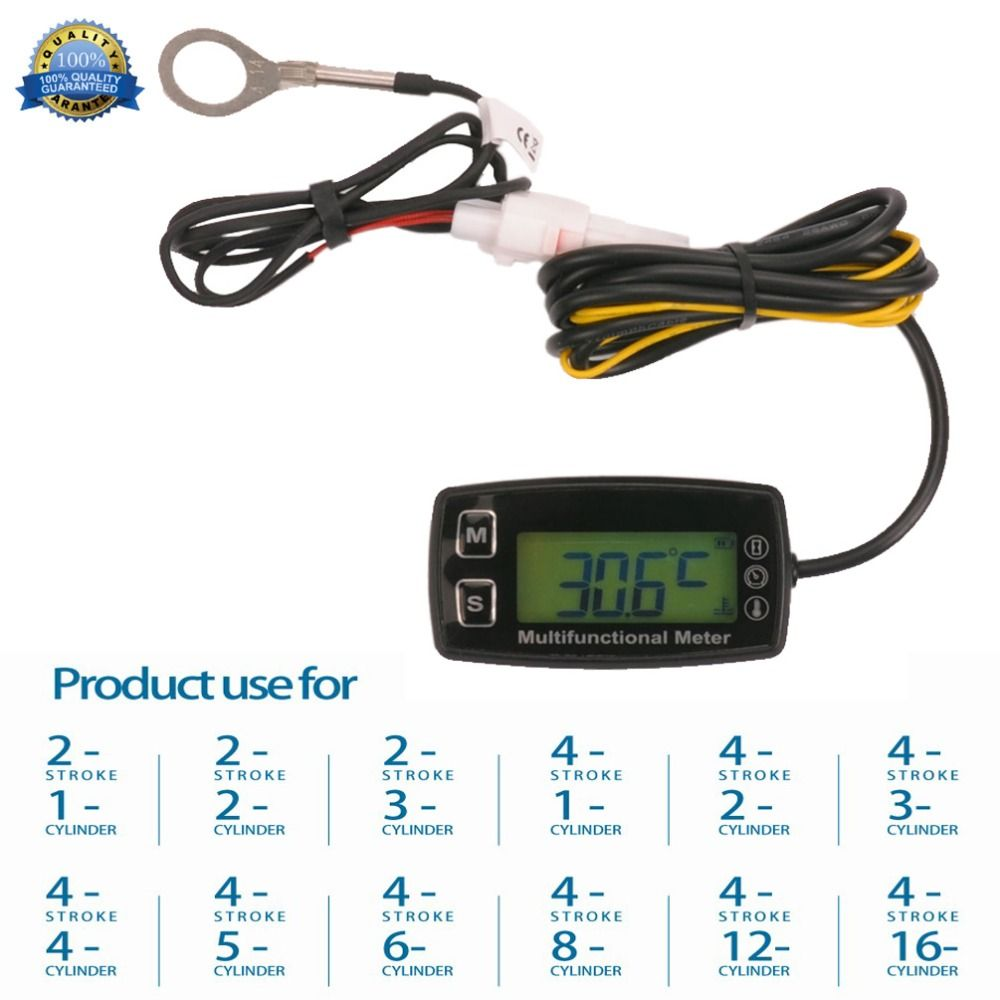 Digital LCD Tach Hour Meter Thermometer Temp Meter for gas engine motorcycle marine jet boat buggy tractor pit bike paramotor