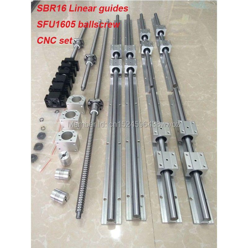 6 satz SBR16 linearführungsschiene + kugelgewindetriebe RM1605 SFU1605 ball schraube + BK/BF12 + mutter gehäuse + kupplungen für CNC teile