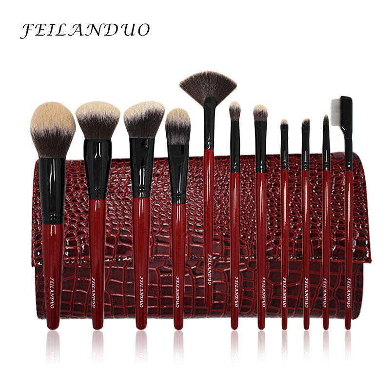 FEILANDUO 11 pcs Professionnel Pinceau De Maquillage Ensemble De Haute Qualité PBT Maquillage Outils T004 Maquillage Brosses Cosmétiques Outil