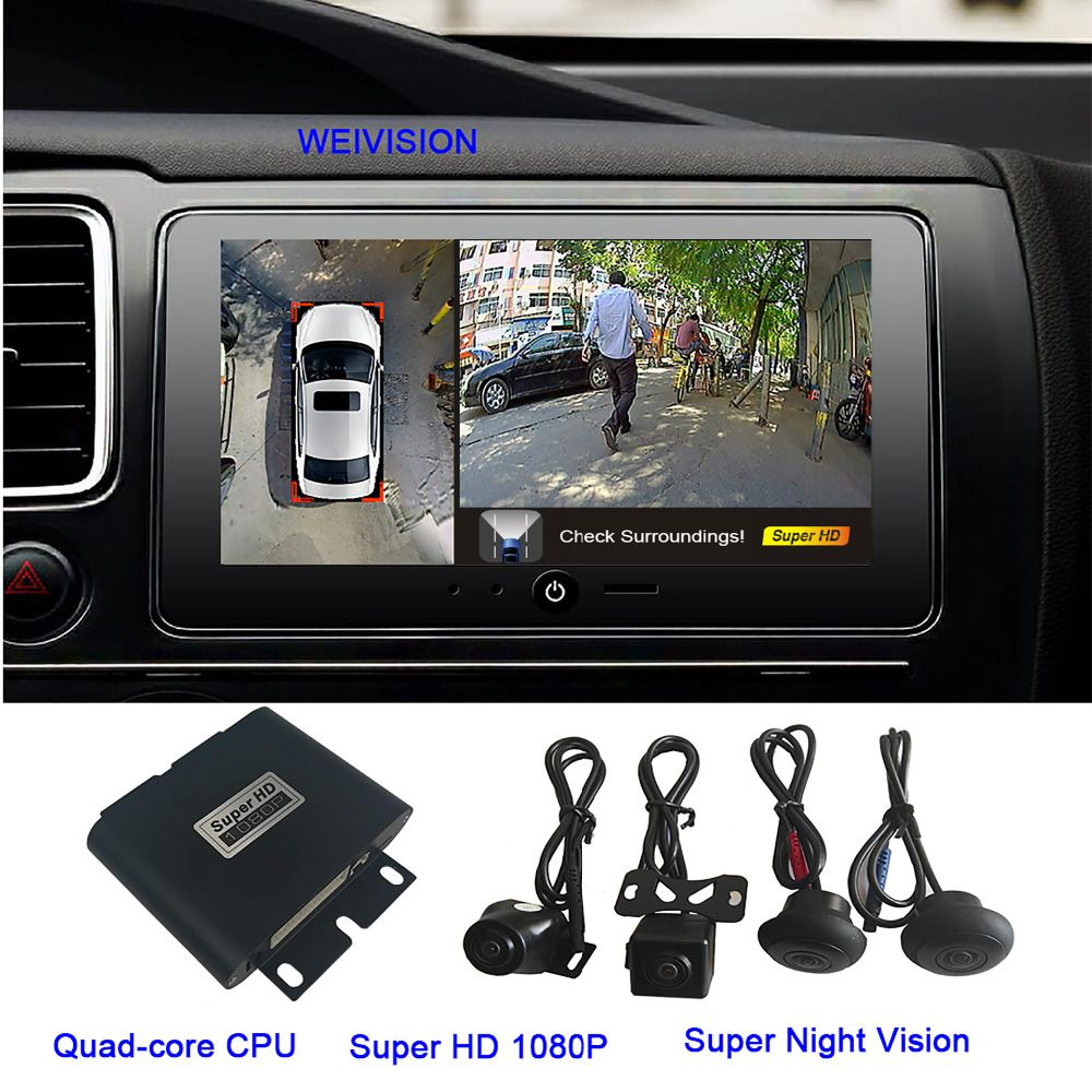 1080P Super HD 360 Bridview Car Monitor System Panoramic View, All round View Camera system with DVR record USB for all car