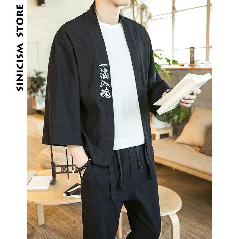 Sinicisme Store 2019 coton lin hommes chemises Kimono mâle chinois japon Style broderie trois quarts manches ouvertes point chemises