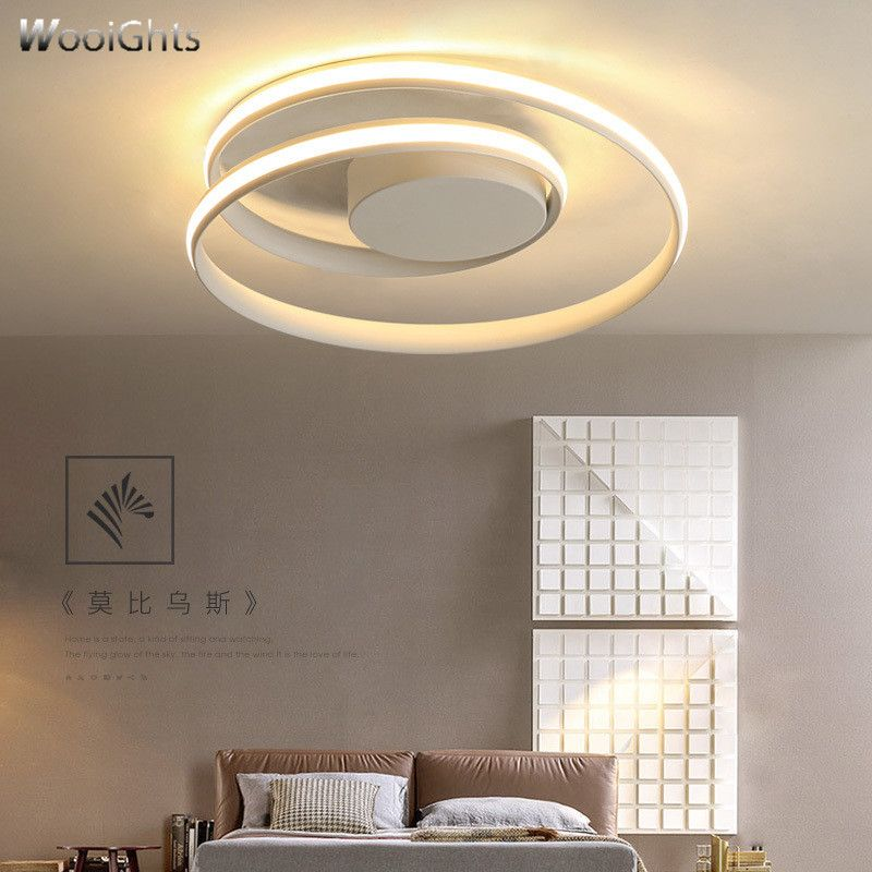 Wooights Modern Chandelier Lighting for Living Bedroom room home decor Lampara de techo White/Black Round Ceiling Chandelier