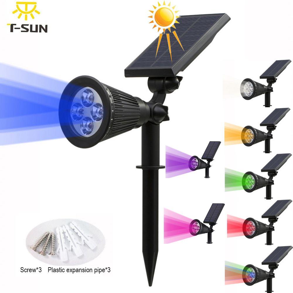 T-SUNRISE Solaire Propulsé 4/7 LED Lampe Réglable Solaire Spotlight En-Sol IP65 Étanche Paysage Mur Lumière Éclairage Extérieur