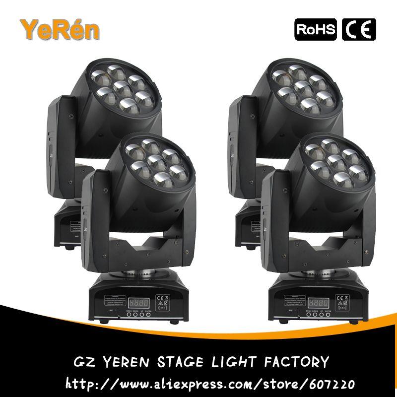(4PCS) Zoom Led Beam Wash Moving Head Light 7PCS RGBW Quad-Color Led Lamp DJ Led Effect Light DJ Disco Light