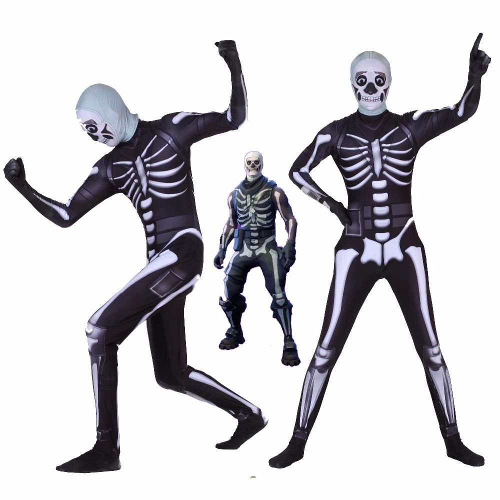 Halloween Diffuse party fortress night skull trooper Human skeleton Cosplay Zentai Costume jumpsuit adults/children/kids
