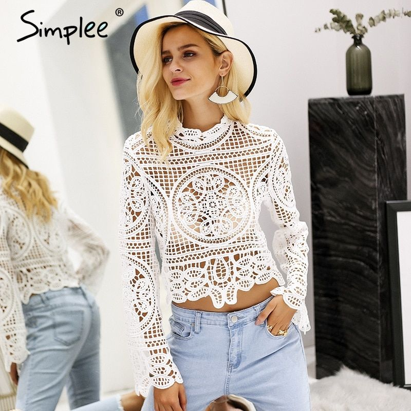 Simplee Elegant lace crop top blouse shirt Women Flare sleeve white blouse female Casual streetwear summer tops tees blusas 2018