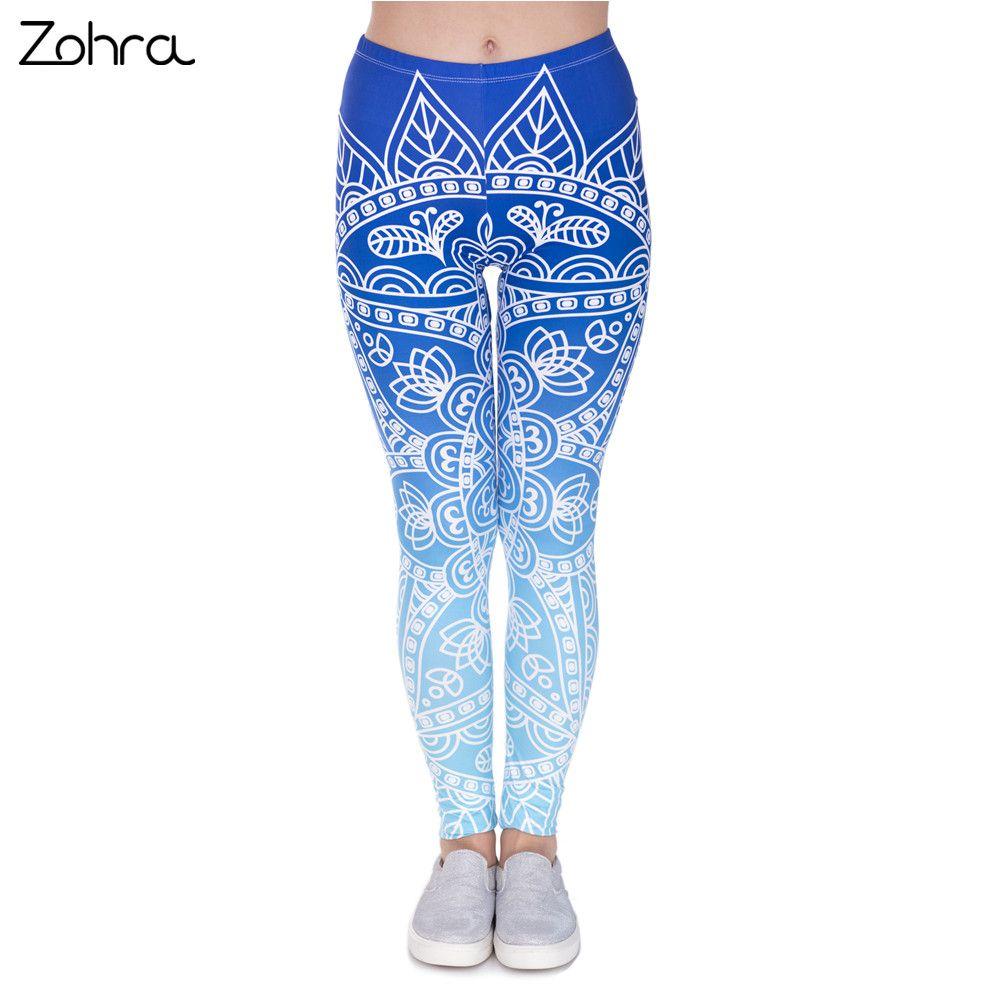 Zohra alta calidad mujeres legins mandala ombre azul impresión legging moda casual alta cintura mujer Leggings