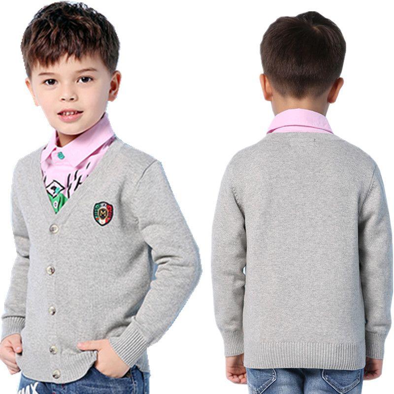 Enfants garçons chandails Cardigan mode col en v à manches longues tricots enfant manteaux vêtements d'extérieur automne enfant en bas âge tricoté vestes vêtements