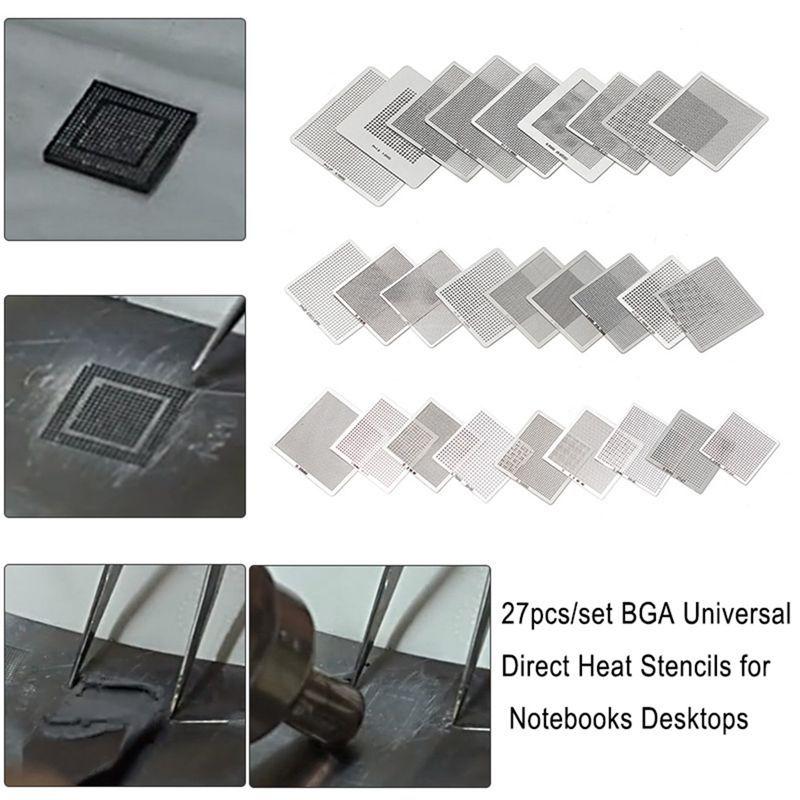 27pcs/set BGA Stencils Universal Direct Heated BGA Stencils for Notebooks Desktops Motherboards Soldering Supplies Repair Tools