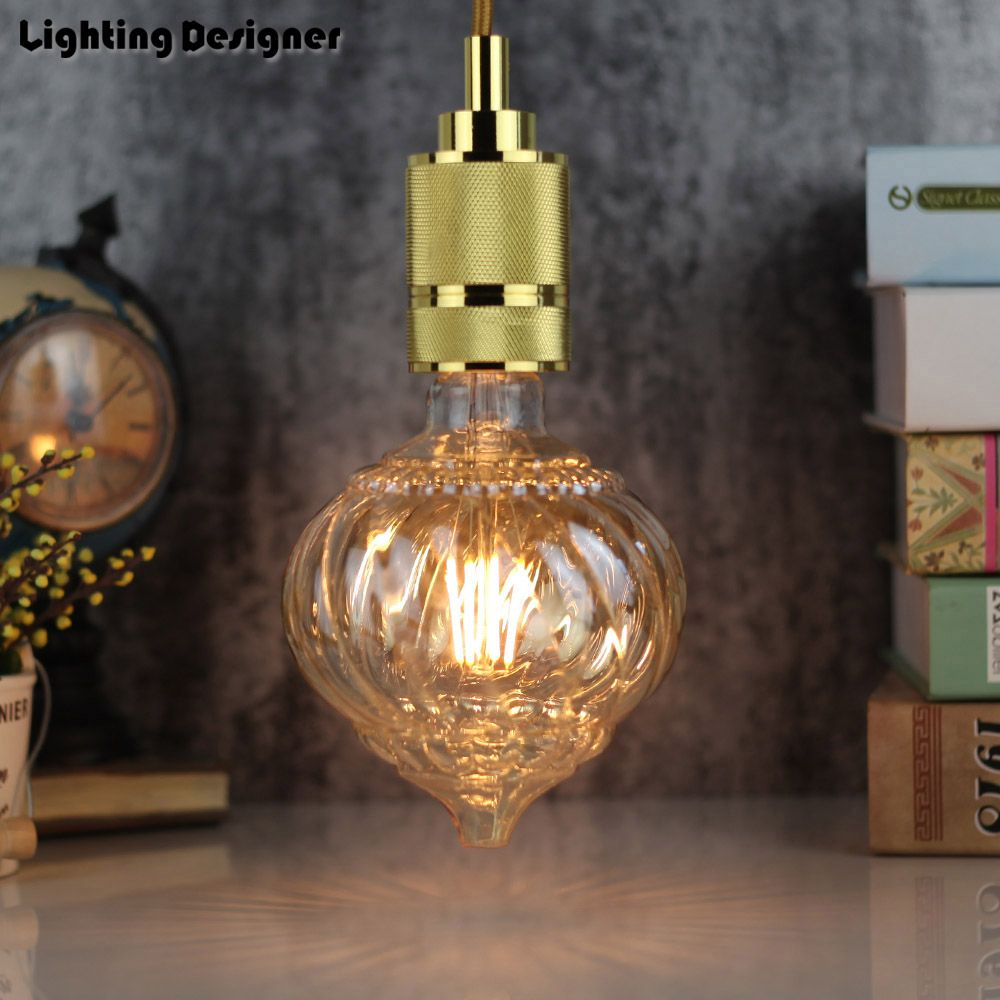 G125 citrouille Edison ampoule LED E27 torsion cône droite LED filament 220 V 4 W décor ampoule vintage ampoule antique ampoule lampe