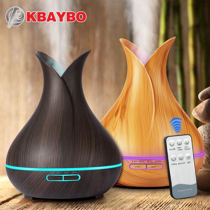KBAYBO 400 ml air diffuseur électrique Arôme Huile Essentielle Diffuseur À Ultrasons Humidificateur D'air Bois Télécommande Mistmaker pour la maison