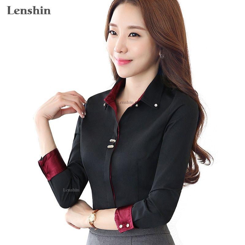 Lenshin col rabattu automne porter à manches longues femmes noir blouse chemise femme style décontracté élégant mode mince hauts