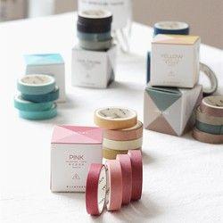 4 Gulungan/Pack Washi Tape Set dekoratif Masking Diy Polos Washi Kaset untuk Anak-anak dan Hadiah Warpping (Mix)