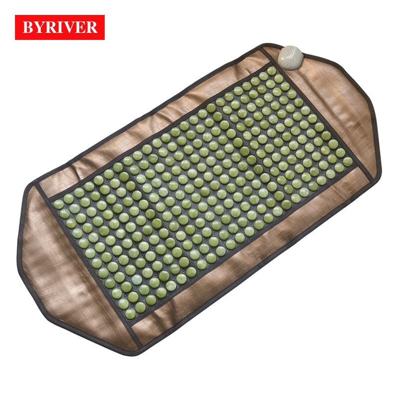 BYRIVER 98*50CM Natural Real Jade Stone Tourmanium Heating Therapy Mat FIR Health Anions Ceratonic Mattress Gift for Parents