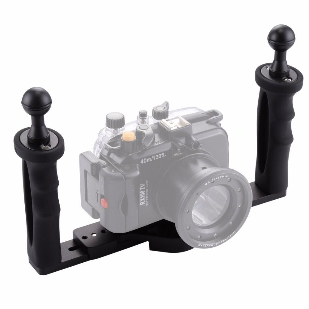 PULUZ Dual Handle Aluminium Tray Stabilizer Rig Underwater Scuba Diving Dive Tray Mount for Gopro DSLR Camera SJCAM Smartphone