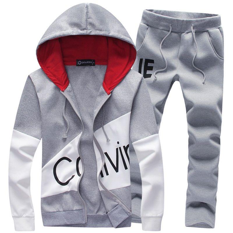 2018 brand sporting suit men warm hooded tracksuit track men's sweat suits set letter print large size sweatsuit male 5XL sets