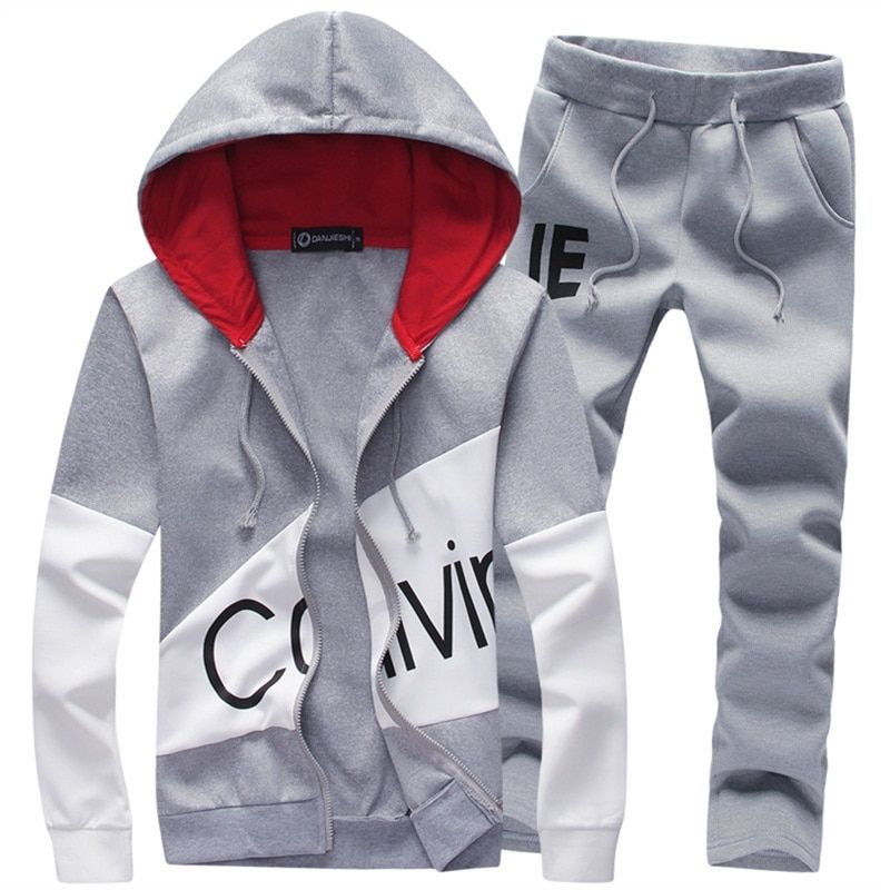 2018 brand sporting suit men warm hooded tracksuit track men's sweat suits set letter print large size sweatsuit male 5XL sets
