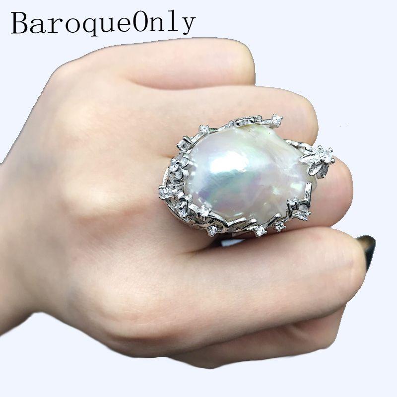BaroqueOnly natürliche süßwasser perle 925 Silber Ring 15-31mm riesige Größe hochglanz Barock Unregelmäßige Perle Ring, frauen Geschenke RA