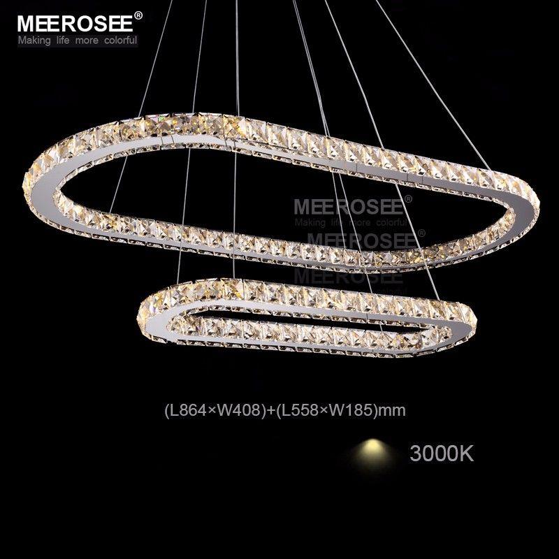 Kristall K9 Led-pendelleuchten Silber Stahl Küche Beleuchtung Anhänger Runde Ring LED Glanz Esszimmer Pendelleuchte