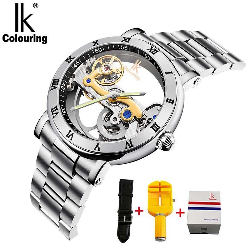 IK hommes montres mécaniques automatiques Top marque montre de luxe en acier inoxydable squelette Transparent Sport homme montre-bracelet