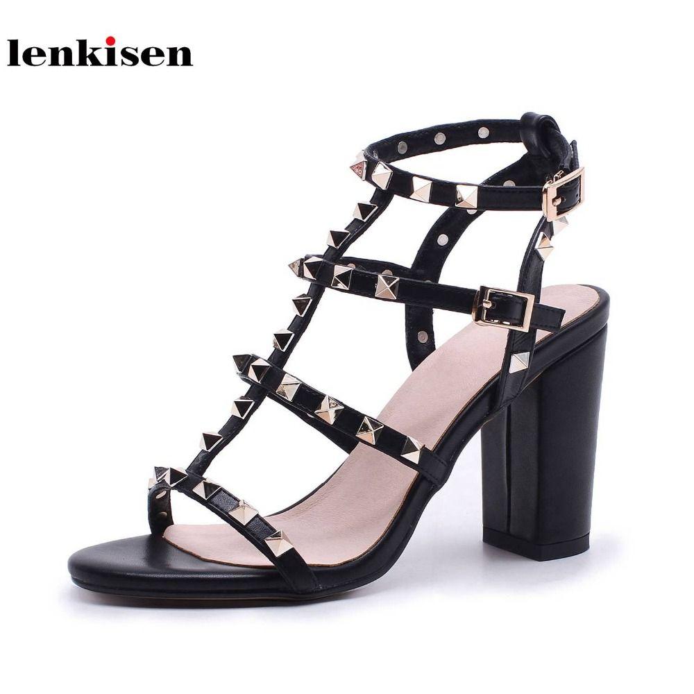 Lenkisen cow leather buckle straps solid peep toe high heels beautiful shoes fashion style rivet decoration women sandals L32