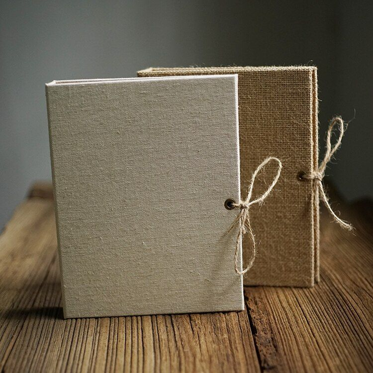 Free Shipping Creative Linen Burlap DIY Craft Card Simple Loose Leaf Notebook 25CM*20CM Blank Scrapbook Album with Rope Strap