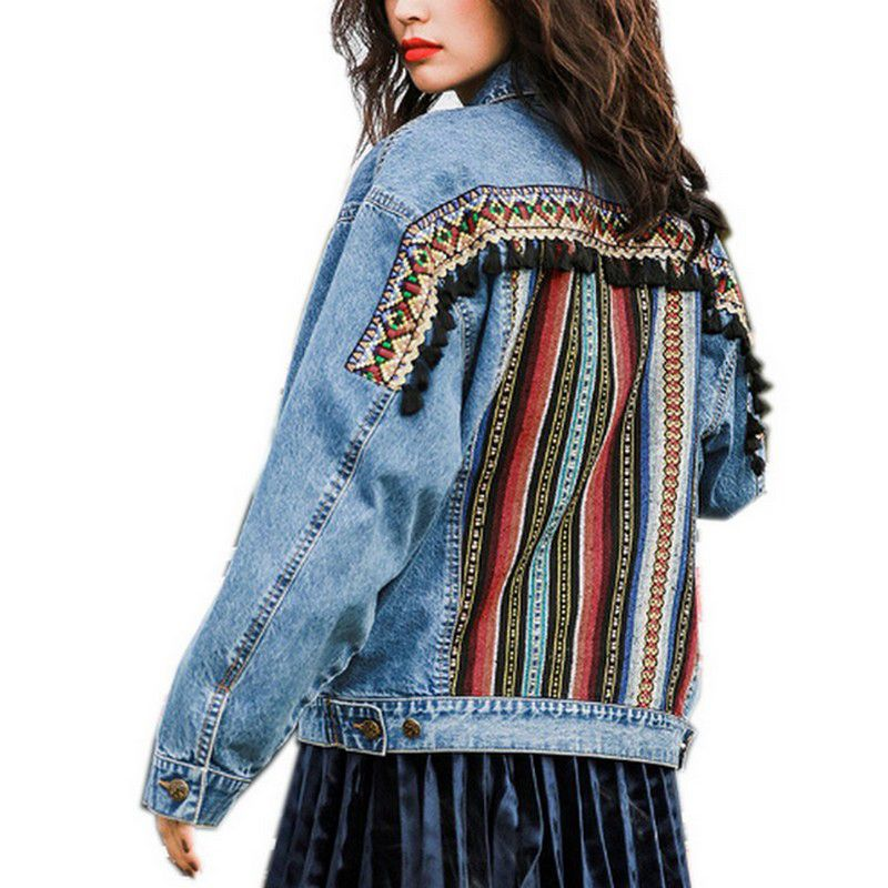 EXOTAO 2017 Autumn Vintage Jeans Jacket Ethnic Geometric Patchwork Jackets Long Sleeve Denim Jaqueta Femme Casual Female Coat