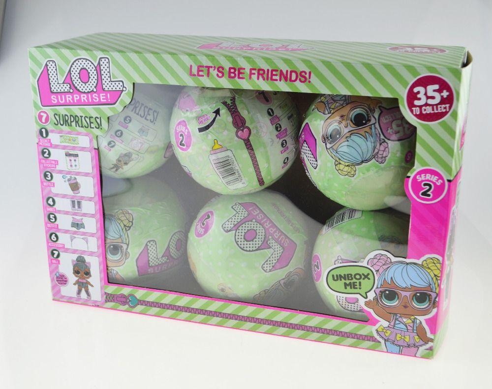 6pcs LOL Dolls in Balls Surprise Egg Series1 Series2 Color Change Boneca Surprise Doll Water Spray Baby Girl Dress Decor Gift