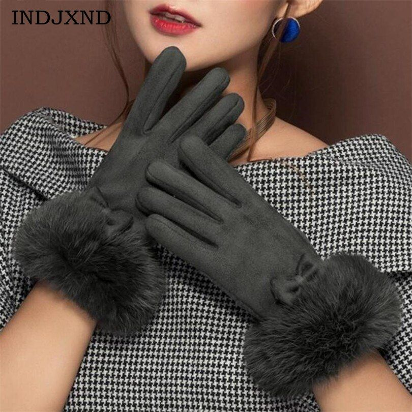 INDJXND Winter Women's Clothing Accessories Elegant Suede Glove Warm Bow Driving Soft Mittens Wrist Female Touched Screen Gloves