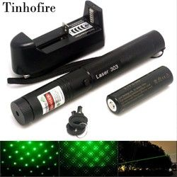Tinhofire Laser 303 5 mW Green Laser Pointer Panjang Focal Adjustable dan dengan Pola Bintang Filter 4000 mAh 18650 baterai + charger