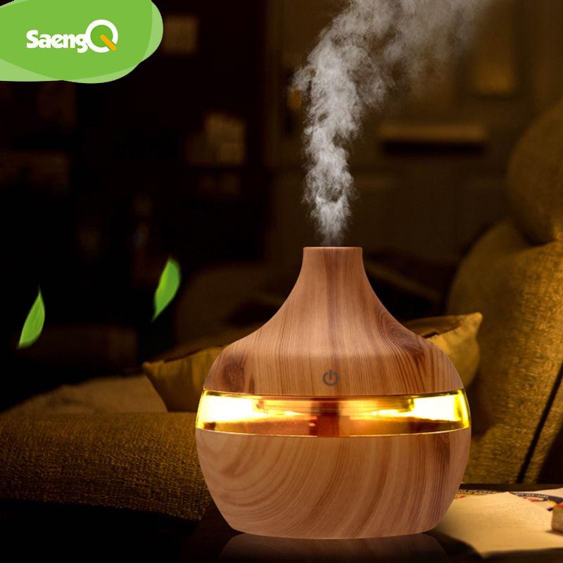 SaengQ humidificateur électrique arôme diffuseur d'huile ultrasons Grain de bois humidificateur d'air USB Mini brumisateur led lumière pour bureau à domicile
