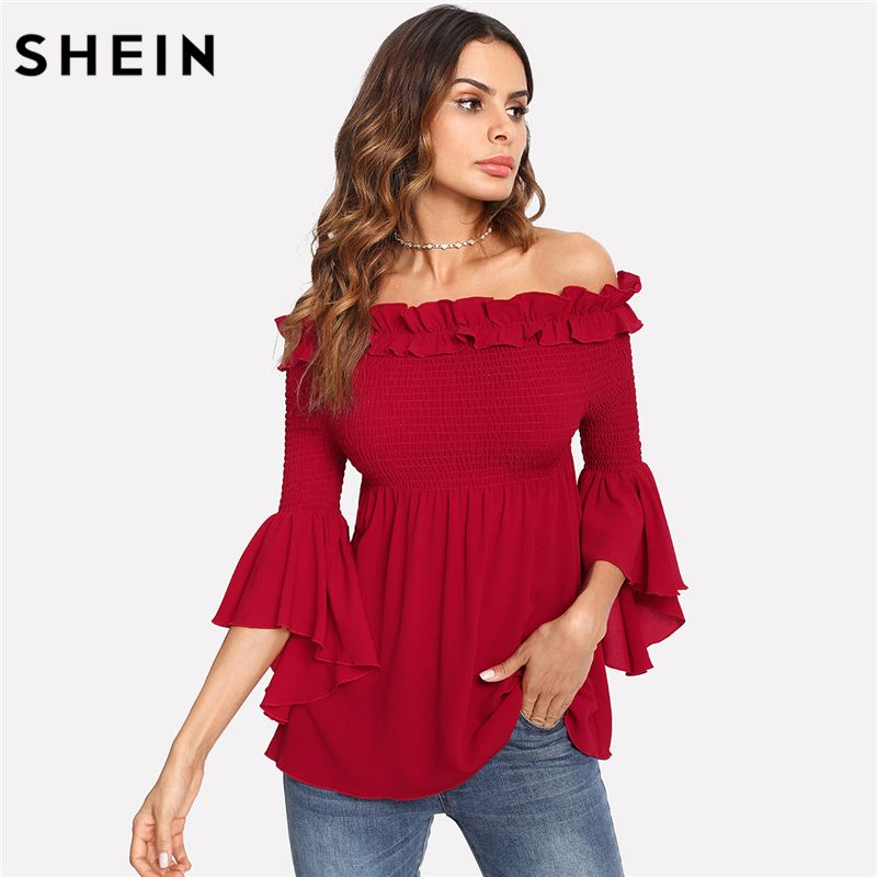 SHEIN Red Off the Shoulder Three Quarter Length Sleeve Regular Fit Party Wear Blouse Ruffle Trim Smocked Bardot Top