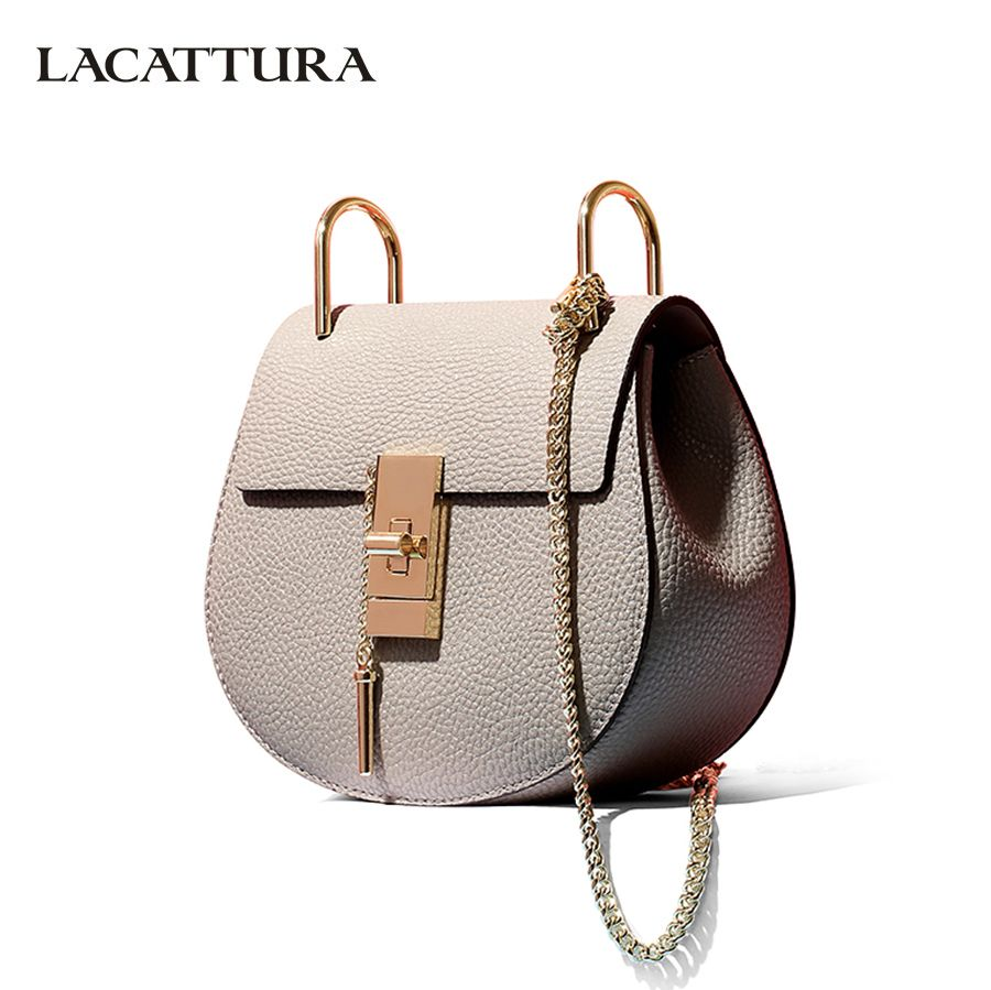 LACATTURA women messenger bags cowhide leather handbag ladies Chain shoulder bags clutch fashion crossbody bag brand candy color