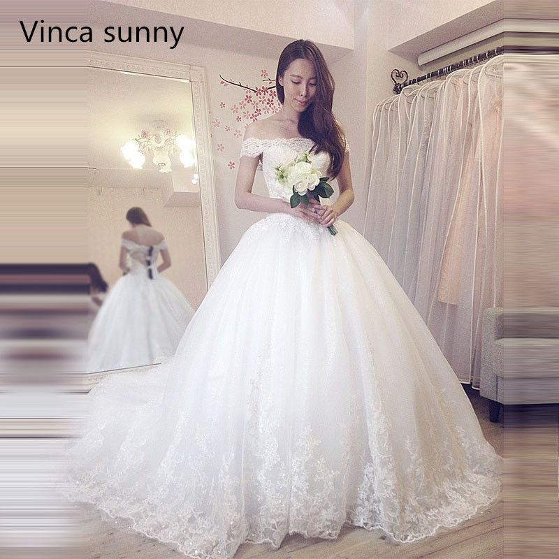 Vinca Sunny Lace Ball Gown Wedding Dress 2018 Off Shoulder Princess Arabic Arab Bride Bridal Dress Gown Weddingdress Cathedral