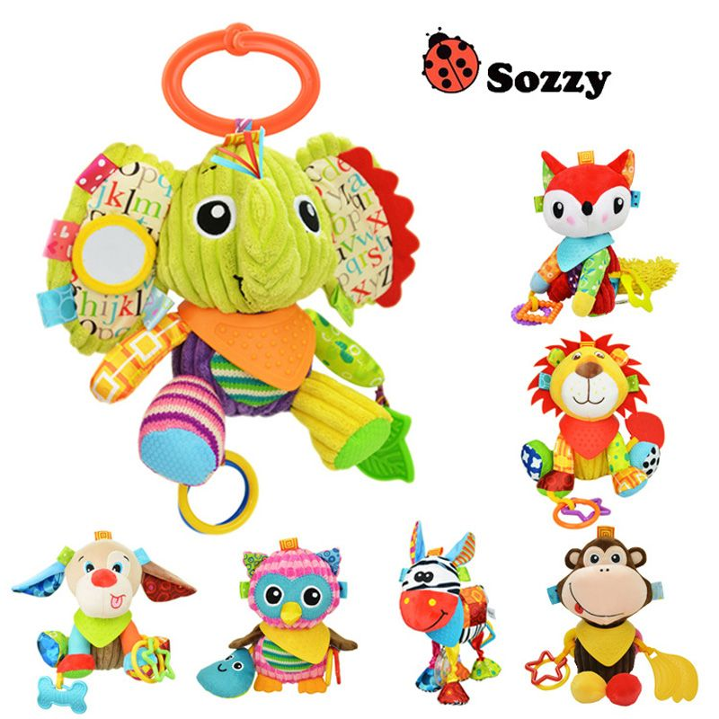 Sozzy Baby Rattle Bell Baby Infant Crib Stroller Hanging Toy Cute Cartoon Animals Stuffed Plush Pacify Dolls