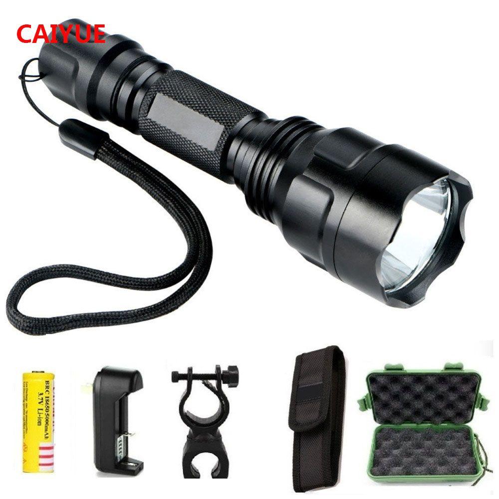 Puissant LED lampe de Poche Tactique De Chasse Torche cree Q5 5-mode torche lumière lanterne Étanche gladiateur lampe de poche Pour 1x18650