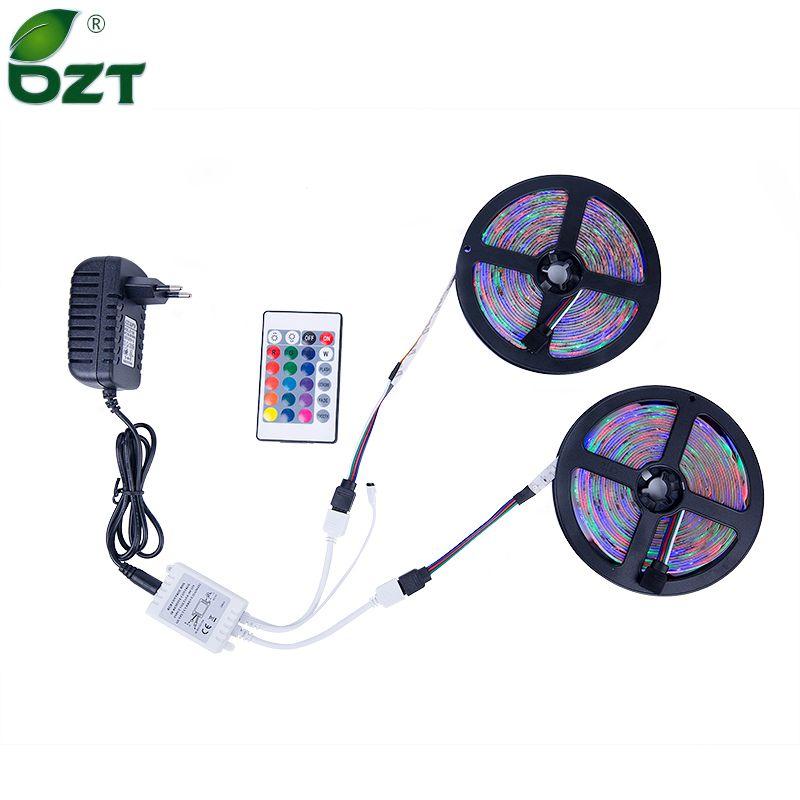 RGB LED bande 5 M 10 M (2*5 M) SMD 3528 2835 lumière LED IR télécommande 12 V adaptateur secteur Flexible lumière LED bande Home Decoratio