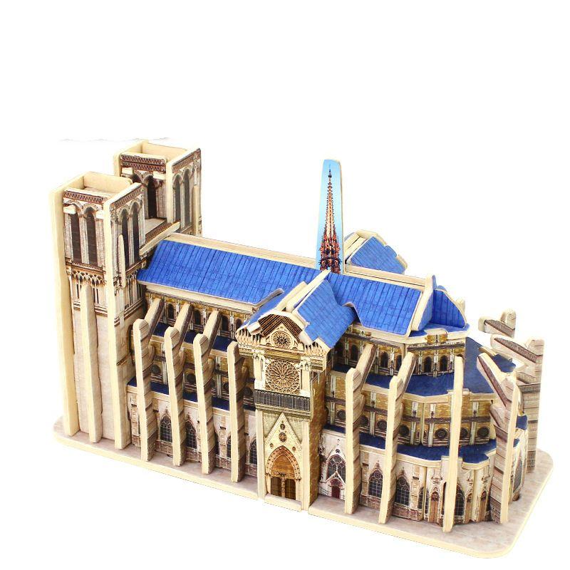 Puzzle en bois 3D Puzzle en bois cubique blocs de Construction du monde Construction enfants jouets éducatifs cadeau Notre Dame de Paris