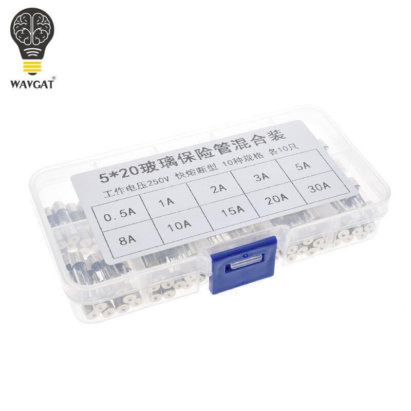 WAVGAT 100 PCS Set 5x20mm Flink Glasrohr Sicherung Assorted Kits, schnelle-schlag Glas Sicherungen 5A 10A 15A 250 v 0.2A-20A
