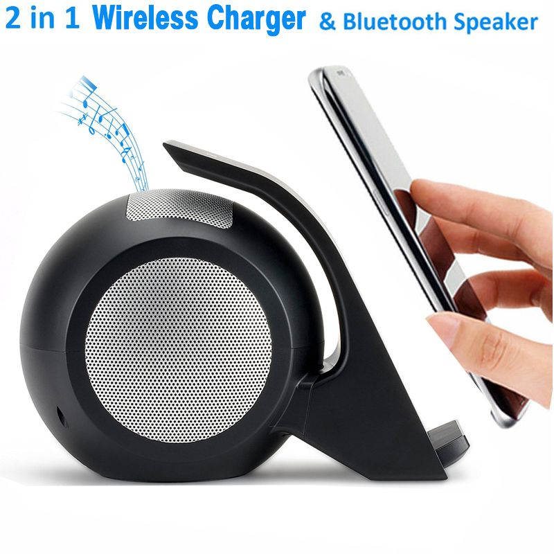 For iPhone X Fast Wireless Charger with Bluetooth Speaker For Samsung Galaxy Note 8 S8 S8 Plus S9 S9 Plus All Qi-Enabled Devices