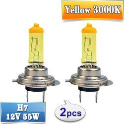 Flytop из 2 предметов (1 пара) желтый H7 галогенная лампа 12 В 55 Вт 3000 К кварцевые Стекло Xenon автомобилей фар авто лампа